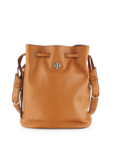 Brodie Pebbled Leather Bucket Bag, Bark