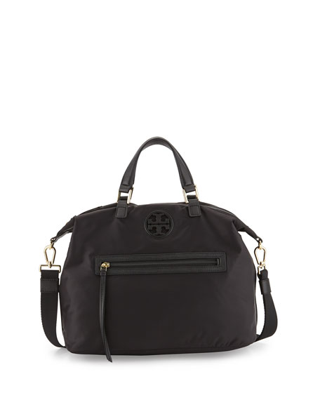 0930952409b2 Tory Burch Nylon Slouchy Satchel Bag, Black