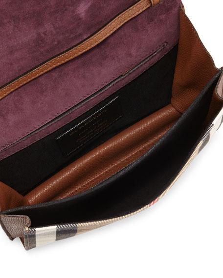 Check & Leather Small Crossbody Bag, Tan