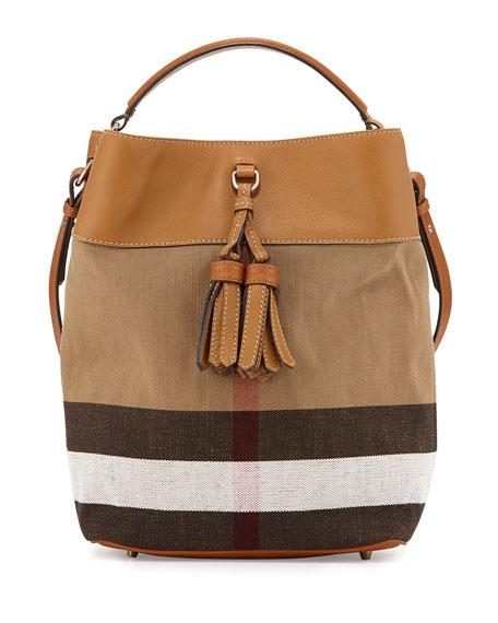 Burberry Asby Check Canvas Bucket Bag, Saddle Brown