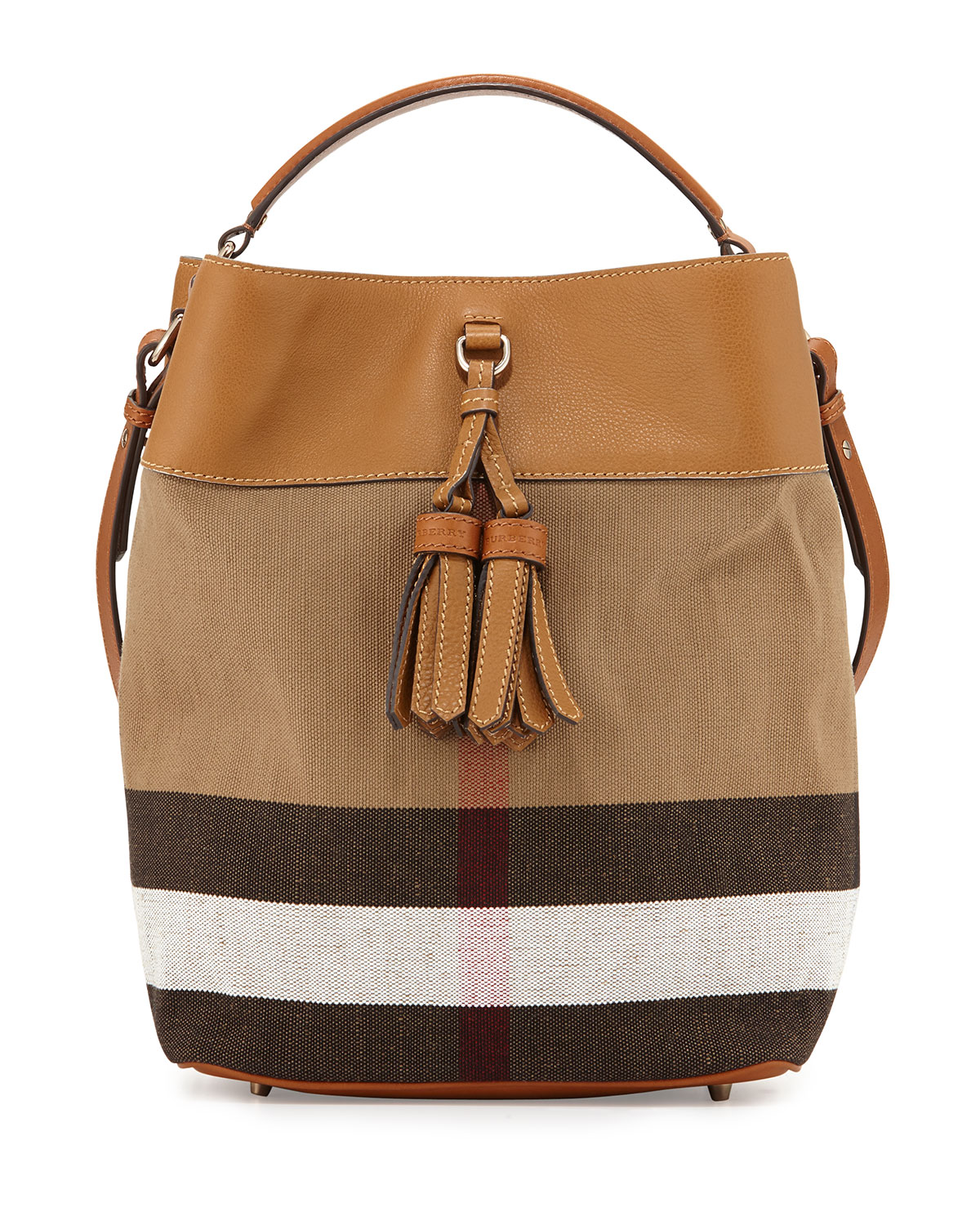 Burberry Asby Check Canvas Bucket Bag ff0a08bf0ad84