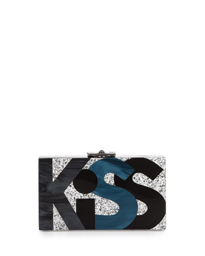 Alicia Small Lucite Clutch Bag, Kiss Me