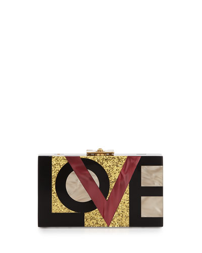 Alicia Small Lucite Clutch Bag, Love Me