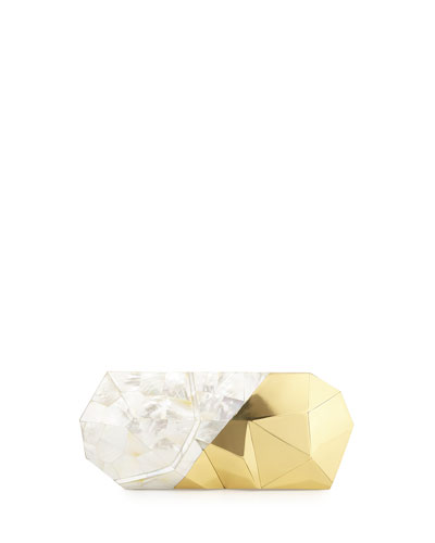 Maryanne Faceted Minaudiere, Pearl/Gold