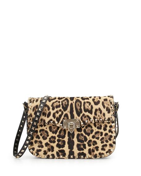 Valentino Leopard-Print Calf Hair Flap Bag