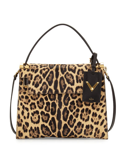 My Rockstud Calf Hair Satchel Bag, Leopard Print