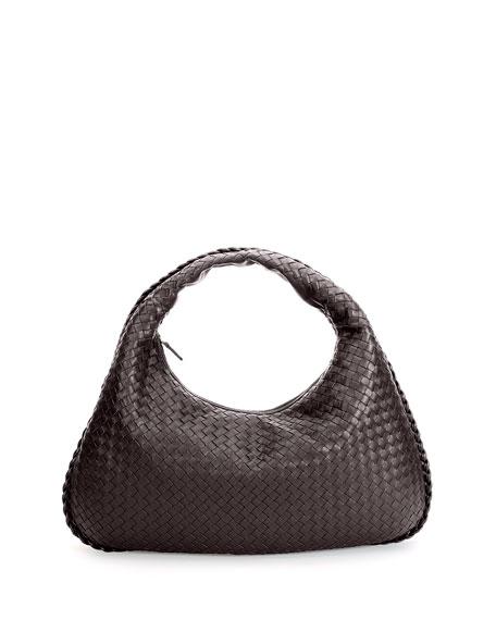 Bottega Veneta Veneta Intrecciato Large Hobo Bag, Dark Brown