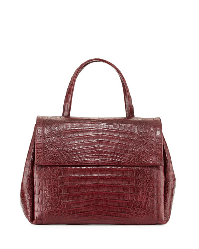 Large Crocodile Double-Flap Satchel Bag, Wine