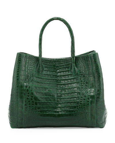 Crocodile Convertible Tote Bag, Green Matte