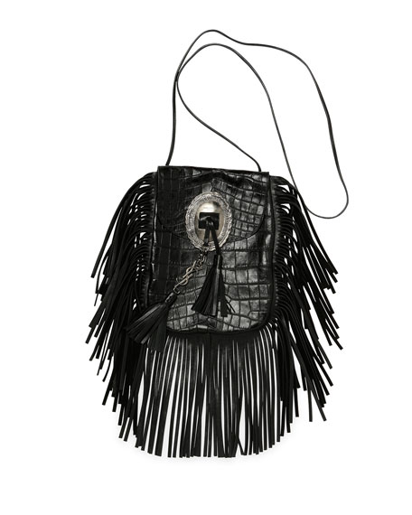 Saint Laurent Anita Croc-Stamped Fringe Crossbody Bag