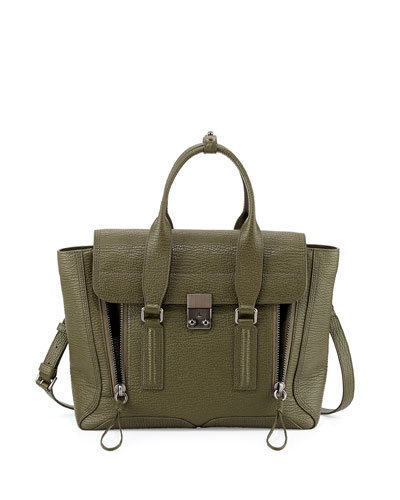 Pashli Medium Zip Satchel Bag, Military
