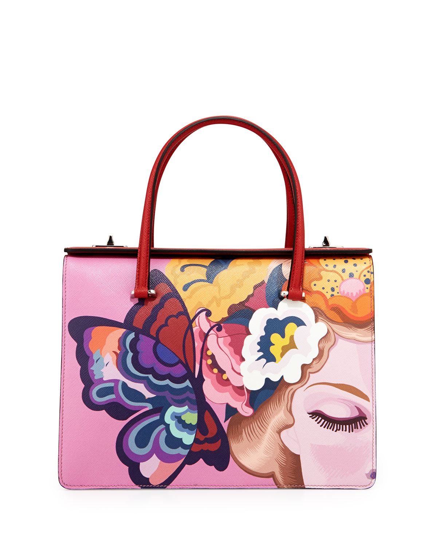 e18653c6a01d10 Prada Saffiano Print Butterfly Satchel Bag, Multi (Rosso) | Neiman ...