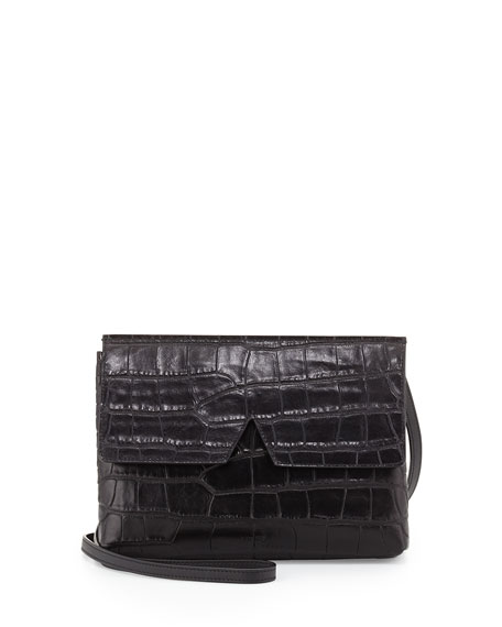 Vince Signature V Croc-Embossed Baby Crossbody Bag, Black