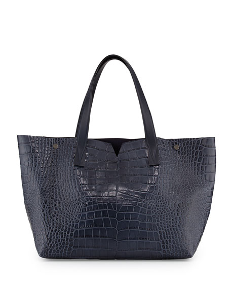 Vince Signature V Crocodile-Embossed Tote Bag