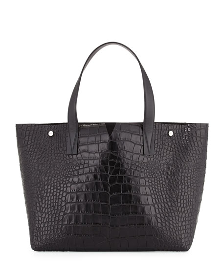 Vince Signature V Embossed-Crocodile Tote Bag, Black