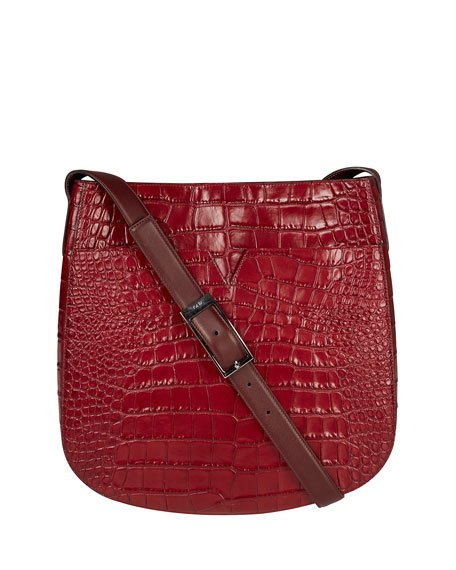 Vince Signature V Croc-Embossed Messenger Bag, Bordeaux