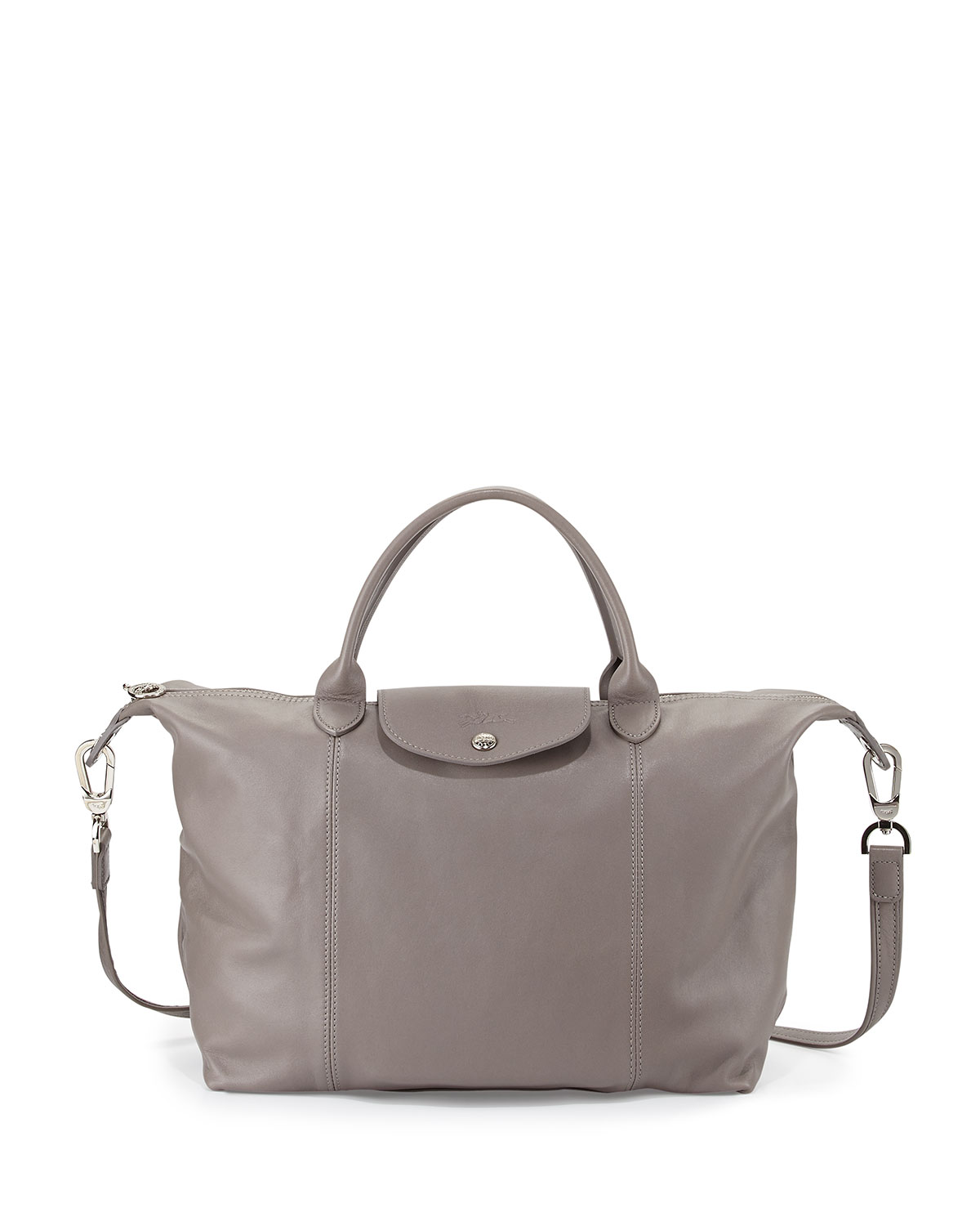 Longchample Pliage Cuir Tote Bag With Strap Gray