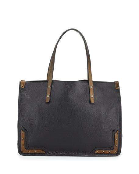 Tomas Maier Granada Calf Leather Tote Bag, Black/Dark