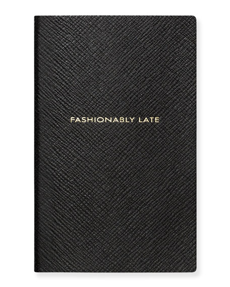 """Fashionably Late"" Panama Notebook, Black"