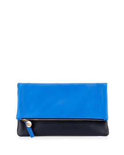 Fold-Over Leather Clutch Bag, Cobalt/Black