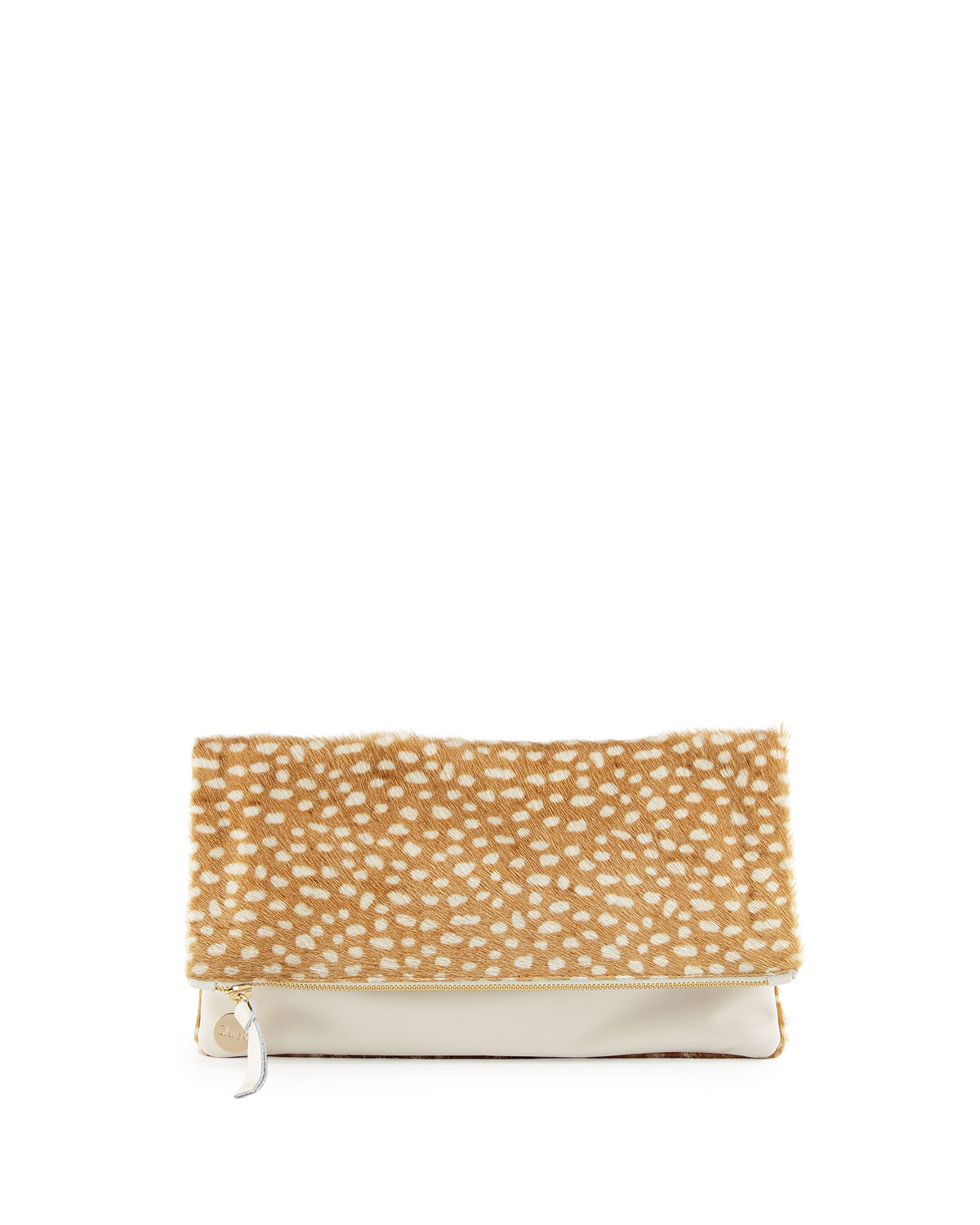 0fca39f9f Clare V. Supreme Calf Hair Fold-Over Clutch Bag | Neiman Marcus