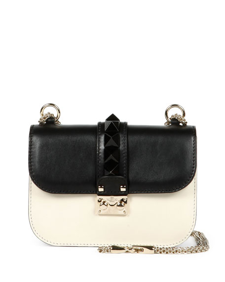 Valentino Mini Lock Bicolor Shoulder Bag, Black/Ivory