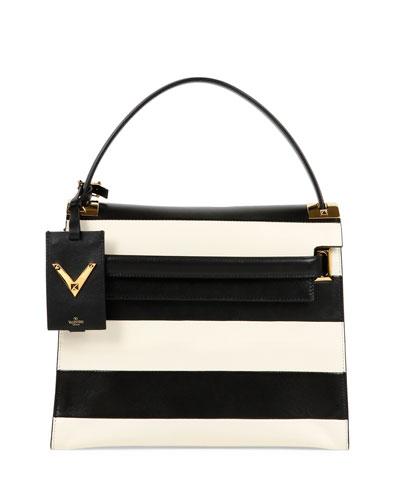 My Rockstud Striped Flap Bag, Black/Ivory