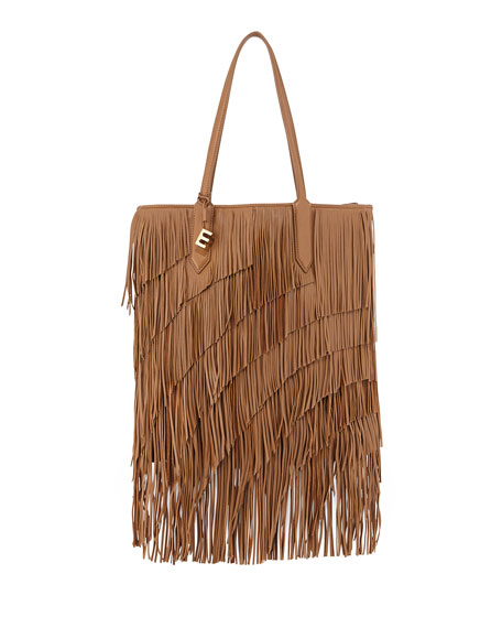 Elizabeth and James Scott Fringed Leather Tote Bag,