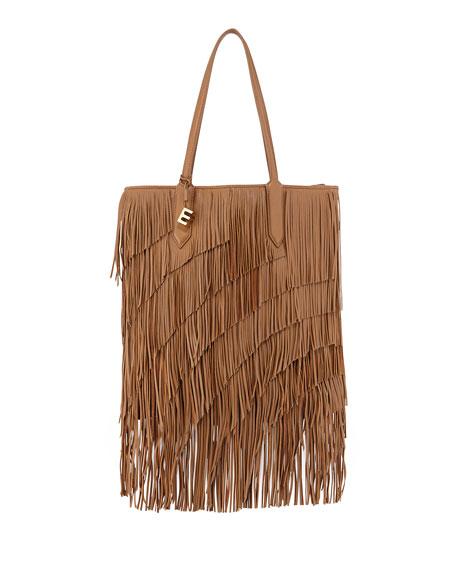Elizabeth and James Scott Fringed Leather Tote Bag,