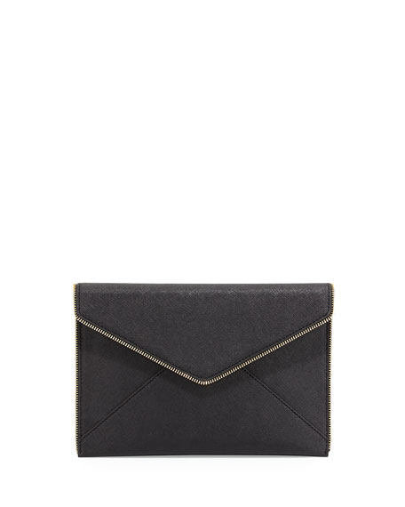 Leo Saffiano Zip-Trim Clutch Bag