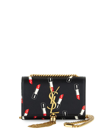 Saint Laurent Monogram Small Lipstick-Print Crossbody Bag, Black