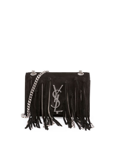 Monogramme Small Suede Shoulder Bag w/Chain Fringe, Black