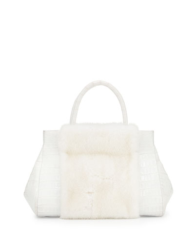 Loop Crocodile Medium Mink-Panel Satchel Bag, White