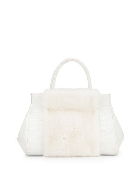 Image 1 of 5: Loop Crocodile Medium Mink-Panel Satchel Bag, White