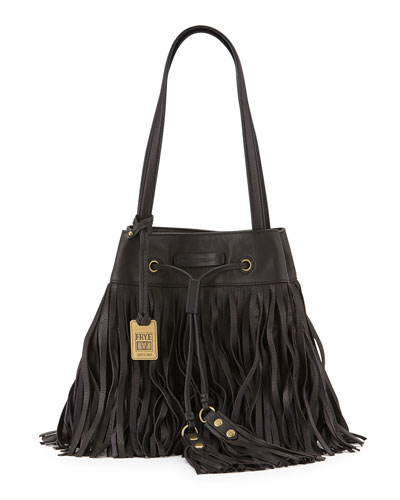 Heidi Fringe Drawstring Shoulder Bag, Black