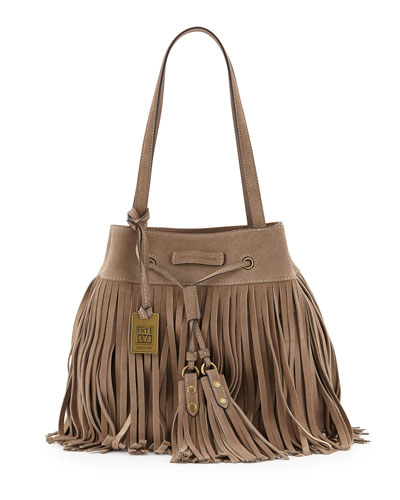 Heidi Fringe Drawstring Shoulder Bag, Gray