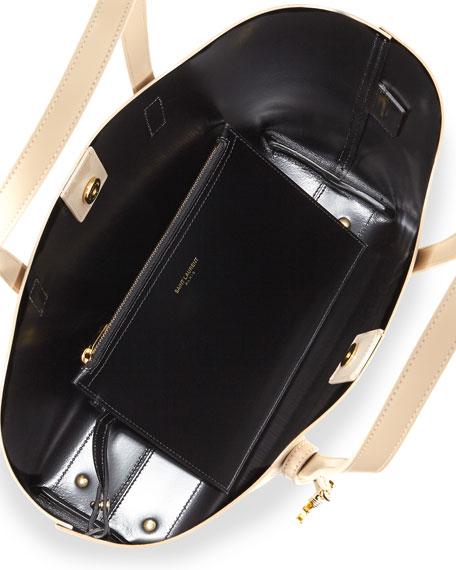 East-West Medium Tote Bag, Khaki/Black