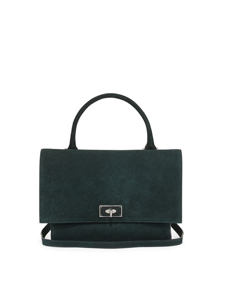 Givenchy Suede Shark-Tooth-Lock Shoulder Bag, Green