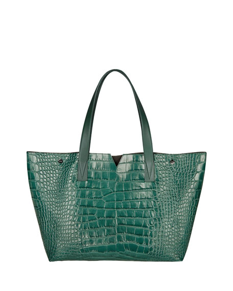 Vince Signature V Croc-Print Tote Bag, Forest Green
