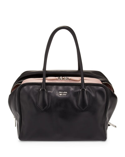 Large Soft Calf Inside Bag, Black/Pale Pink (Nero+Mughetto)