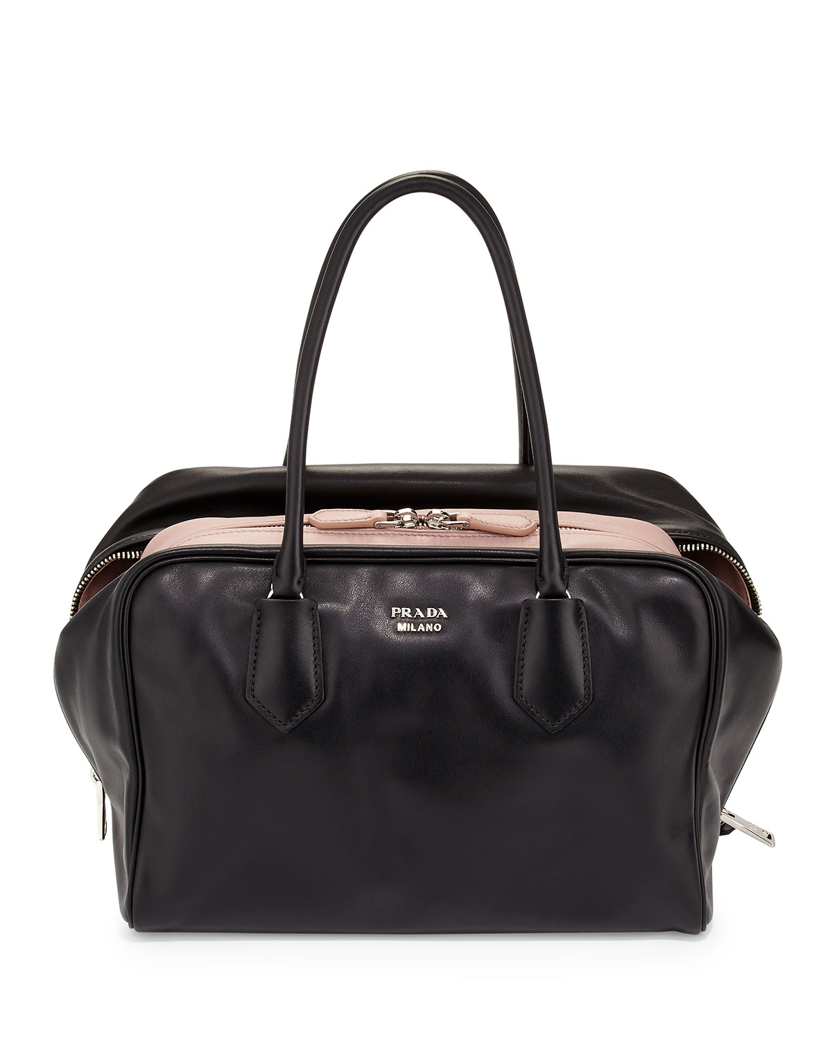c066f511588d Prada Large Soft Calf Inside Bag, Black/Pale Pink (Nero+Mughetto ...