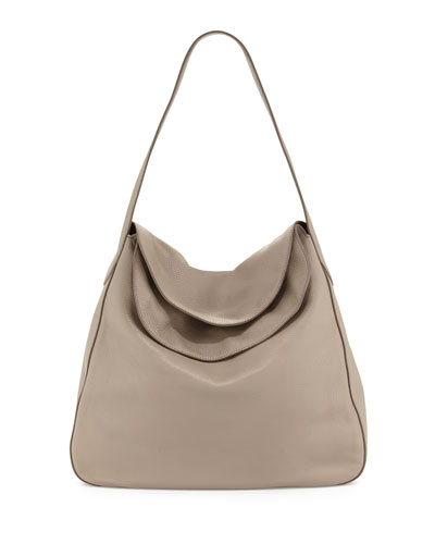 Vitello Daino Doubled Flap-Top Hobo Bag, Gray (Argilla)