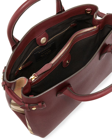 Horseshoe Leather House Check Shoulder Bag, Mahogany Red