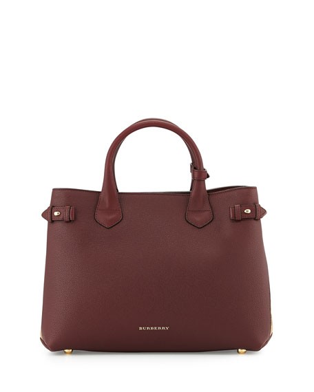 Burberry Horseshoe Leather House Check Shoulder Bag, Mahogany