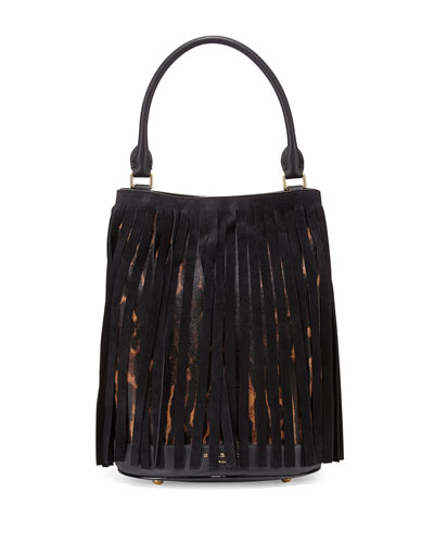 Prorsum Suede Fringe Animal-Print Calf Hair Bucket Bag, Dark Camel