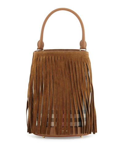 Prorsum Suede Fringe Check Bucket Bag, Dark Sand