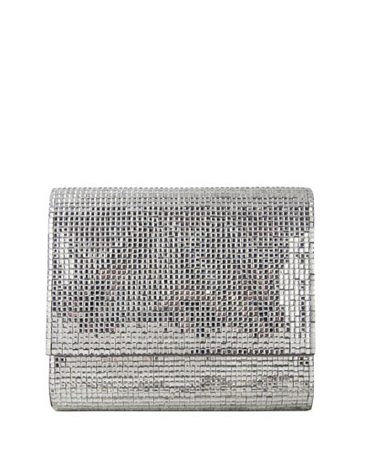 Soho Square-Beaded Crossbody Bag, Silver