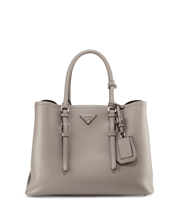 9b8bc59419bb Prada Calf Leather Large Double Tote Bag