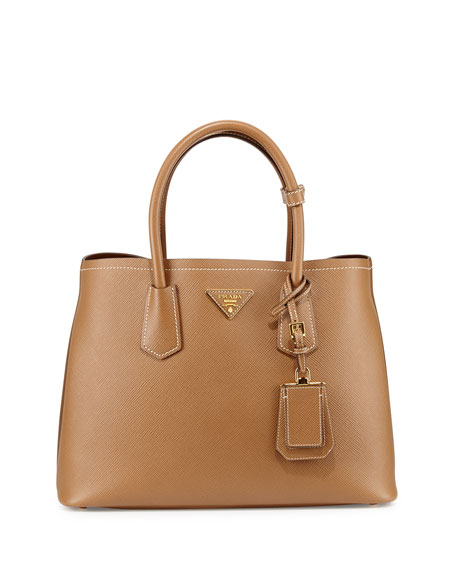 Prada Saffiano East-West Medium Tote Bag, Beige (Cannela)