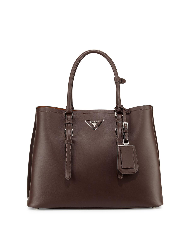 Pradalarge Leather Double Tote Bag Dark Brown Cocoa